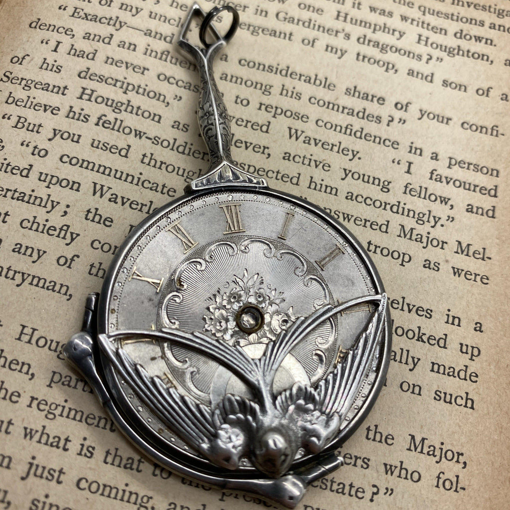 Sterling Lorgnette Swallow Pendant - The Victorian Magpie