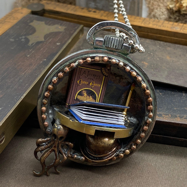 Jules Verne, Steampunk Necklace - The Victorian Magpie