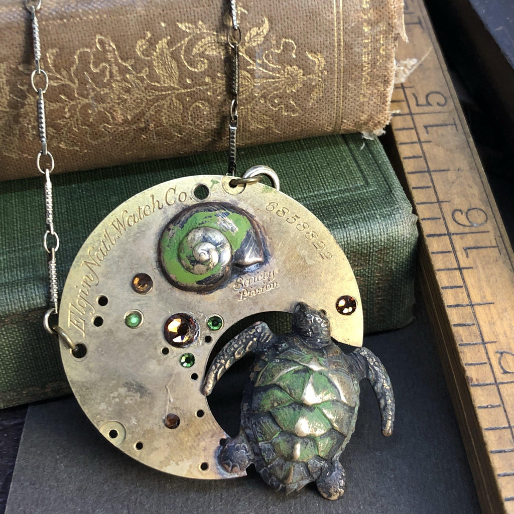 Hershel, Patina Steampunk Sea Turtle Necklace - The Victorian Magpie