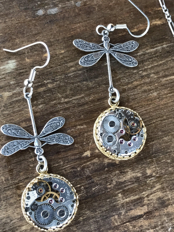 Nadine, Large Dragonfly Earrings - The Victorian Magpie