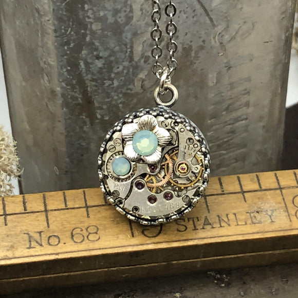 Steampunk Inspired Birthstone Watch Movement Necklace with Flower Charm