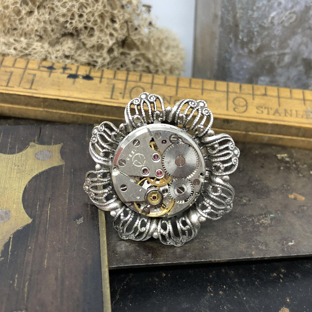 Vintage Floral Watch Movement Ring - The Victorian Magpie