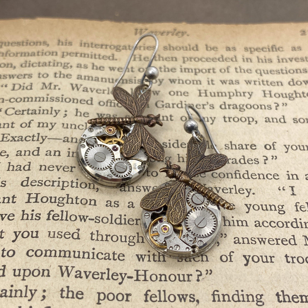 Dragonfly watch earrings - The Victorian Magpie