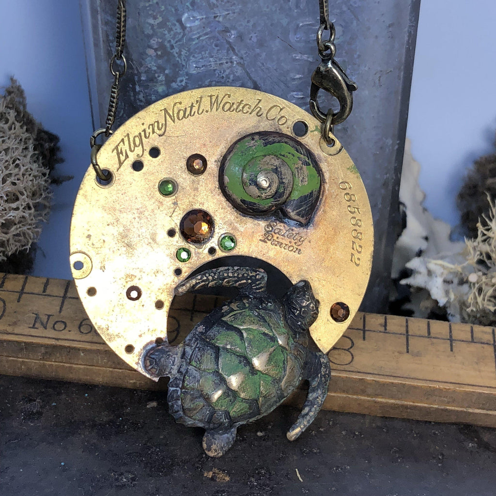 Hershel, Patina Steampunk Sea Turtle Necklace