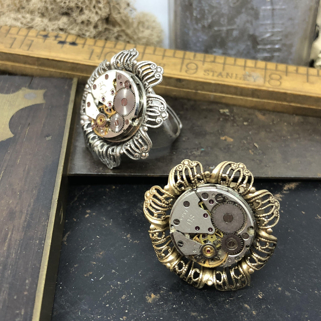 Vintage Floral Watch Movement Ring