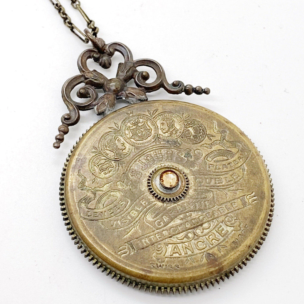 Chloe, 8 Day Pocket Watch Mainspring Necklace - The Victorian Magpie