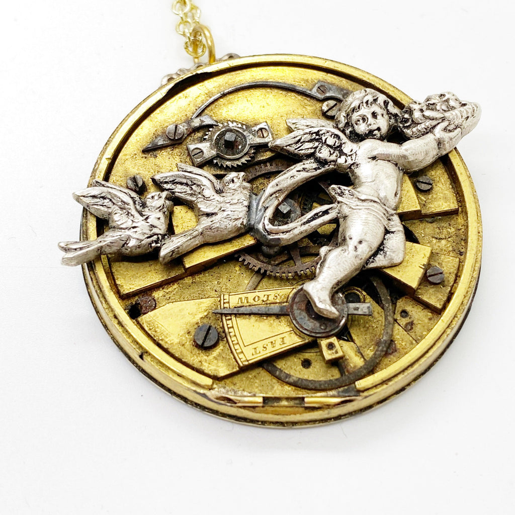 Follow Me, Cherub and Blue Bird Necklace - The Victorian Magpie