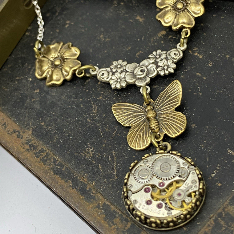 Flora, Floral Butterfly Necklace - The Victorian Magpie