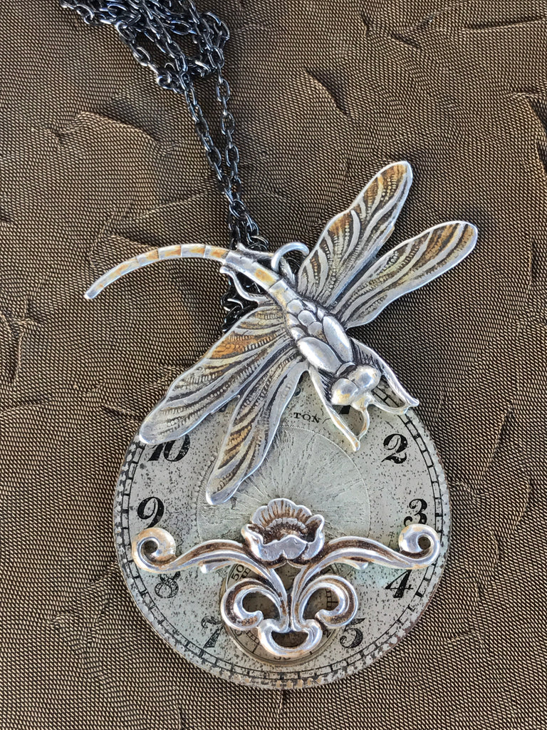 Phoebe, Dragonfly Watch Dial Necklace - The Victorian Magpie