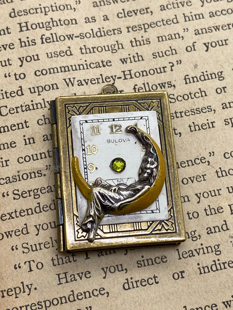 Moon Maiden Book Locket Pendant