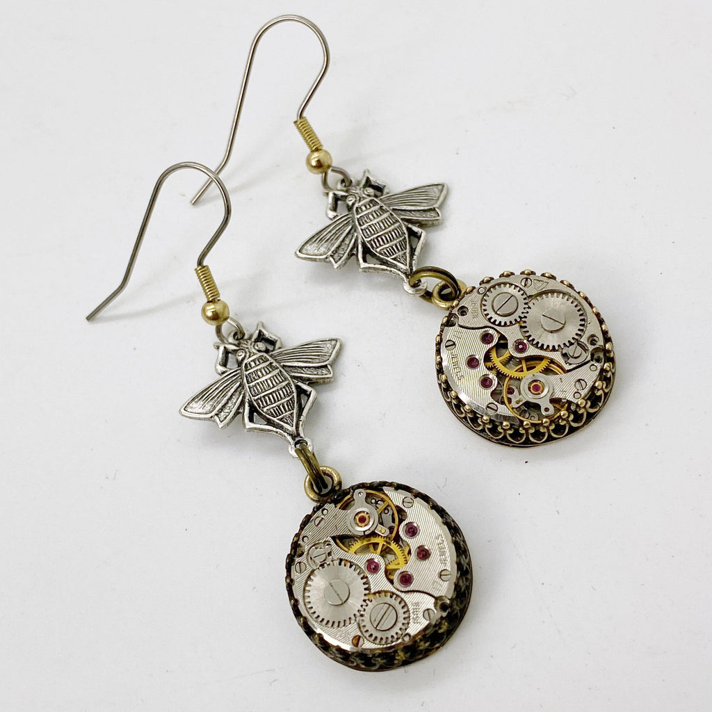 Hanna, Dangle Bee Watch Earrings - The Victorian Magpie