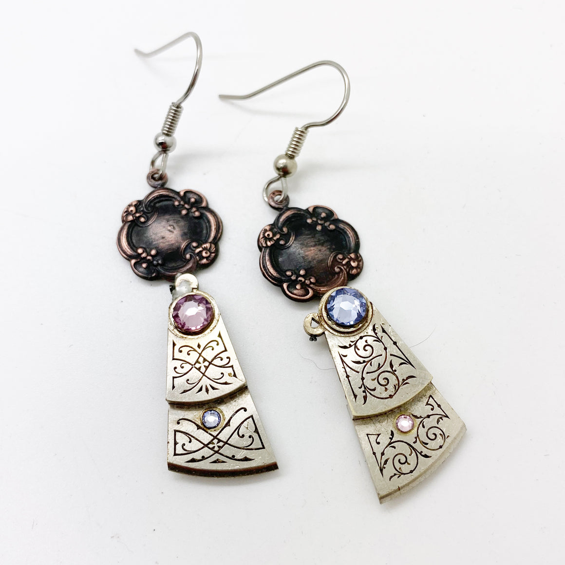 Charity, Engraved Antique Drop Earrings - The Victorian Magpie