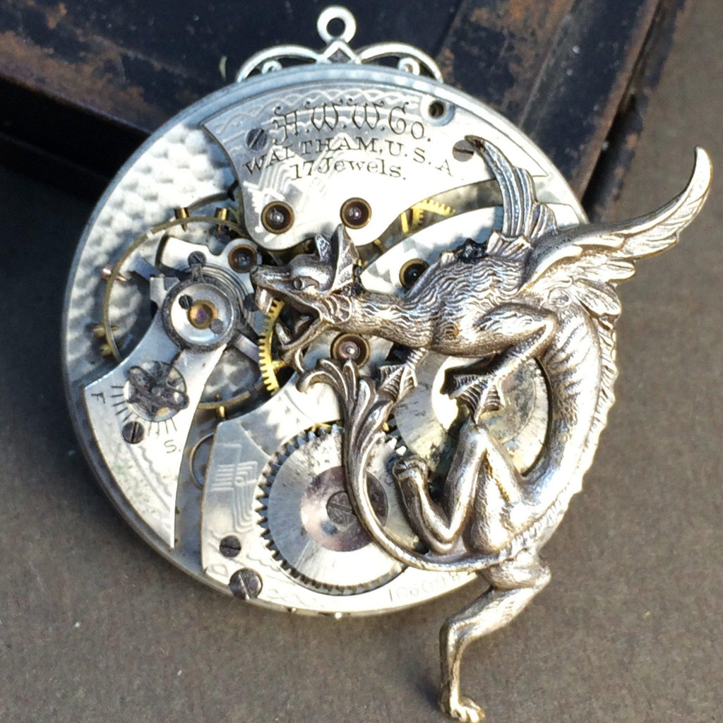 WALTHAM  Dragon Watch Necklace - The Victorian Magpie