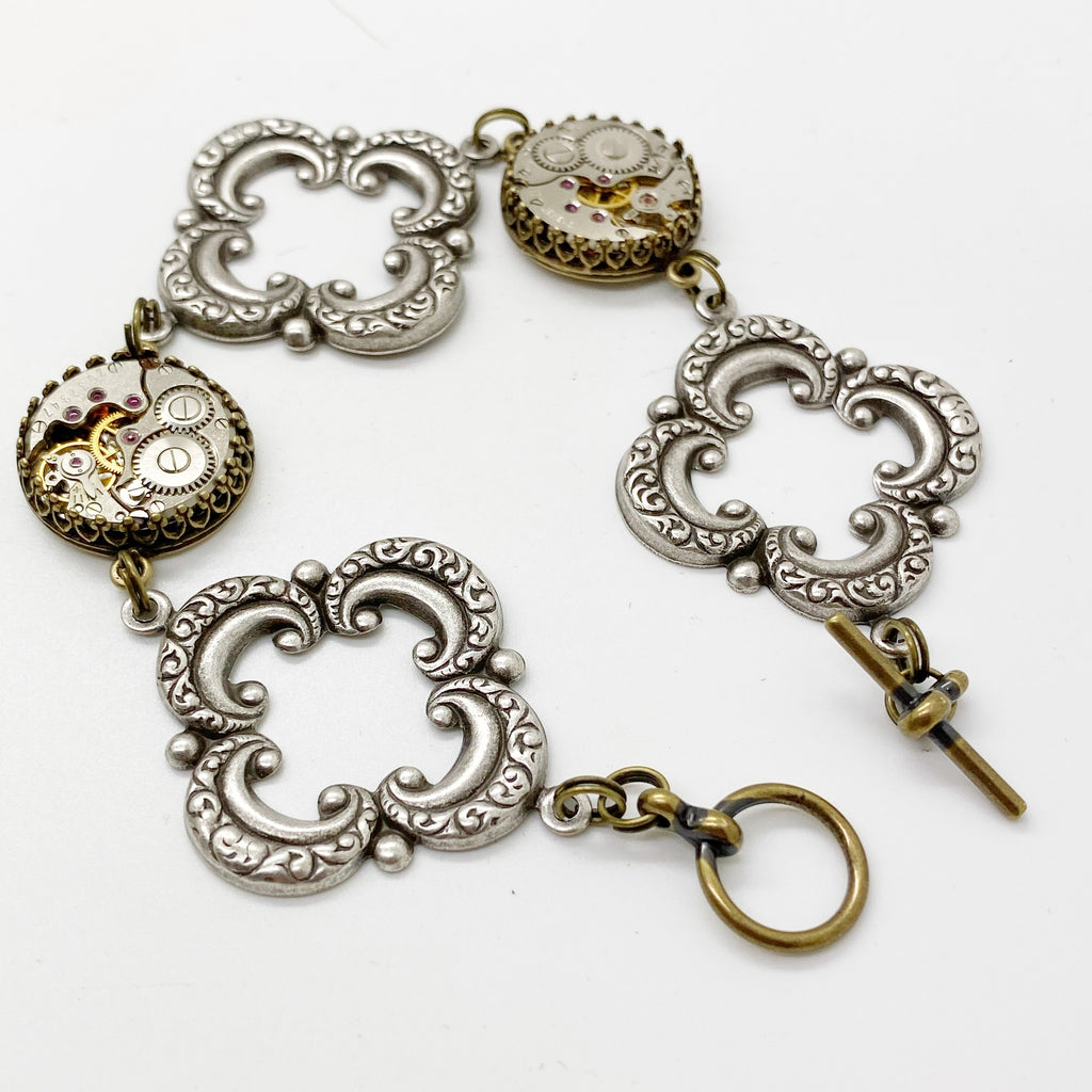 Dora , Dramatic Open Link Bracelet - The Victorian Magpie