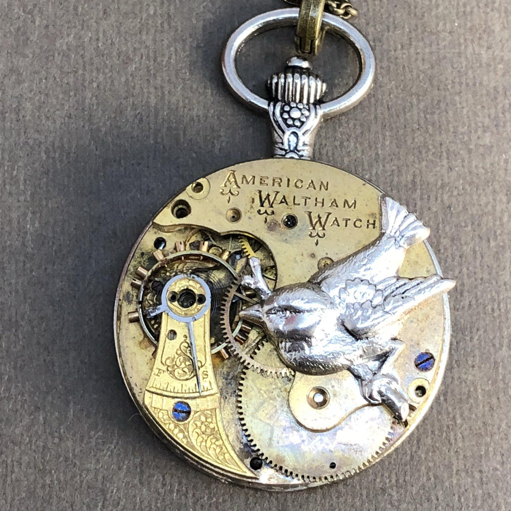 Lydia, Sparrow Pocket Watch Necklace - The Victorian Magpie