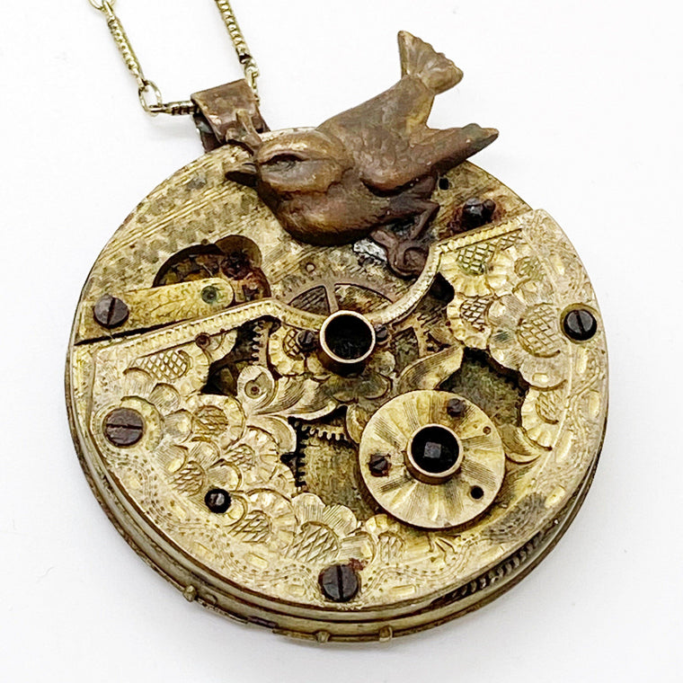 French Circa 1800 Hand Pierced Pocket Watch Necklace - The Victorian Magpie