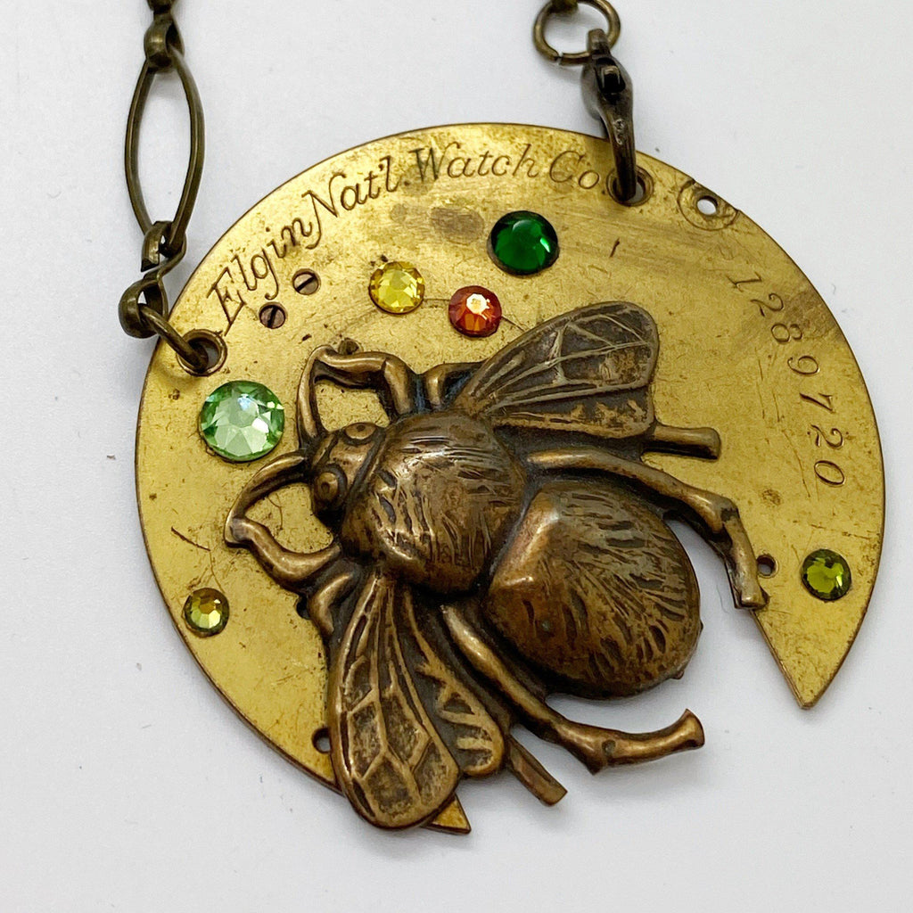 Lilly, Jeweled Bee Necklace - The Victorian Magpie