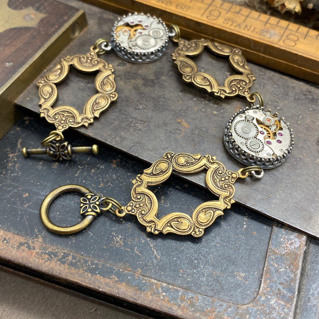 Ambrose , Dramatic Open Link Bracelet - The Victorian Magpie