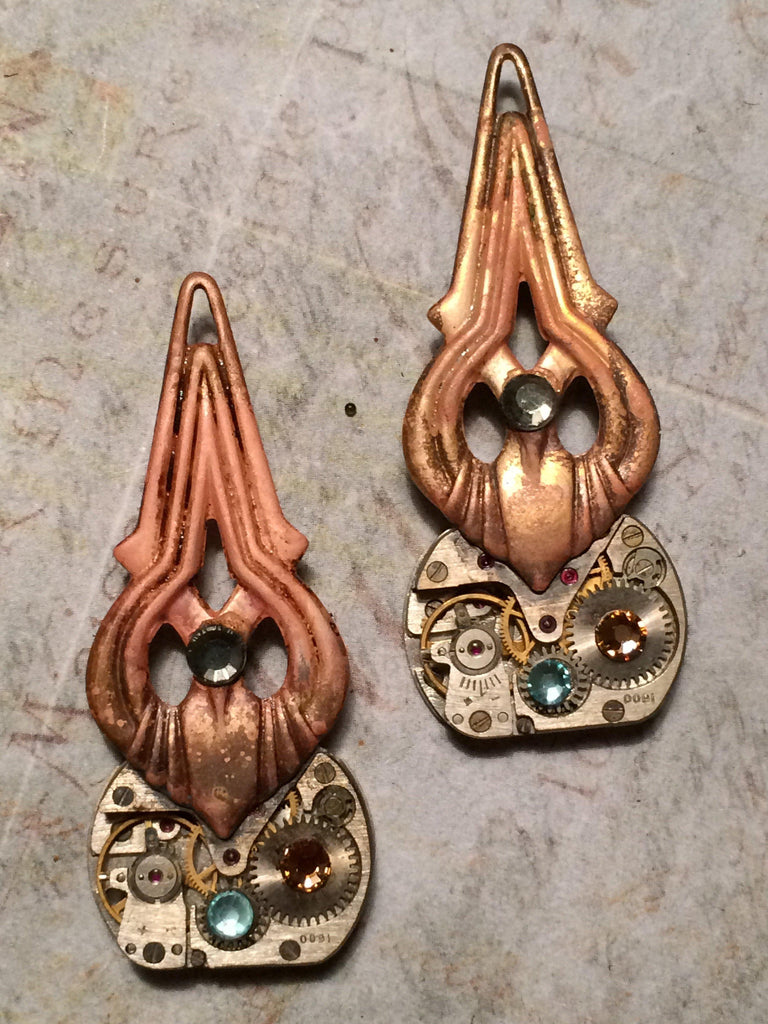 Carmen, Deco Steampunk Earrings