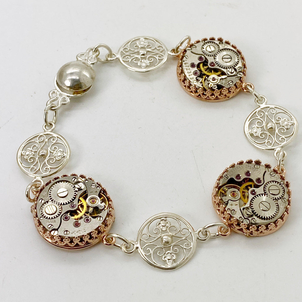 Selma, Vintage Watch Movement Station Bracelet with Filigree Charms - The Victorian Magpie