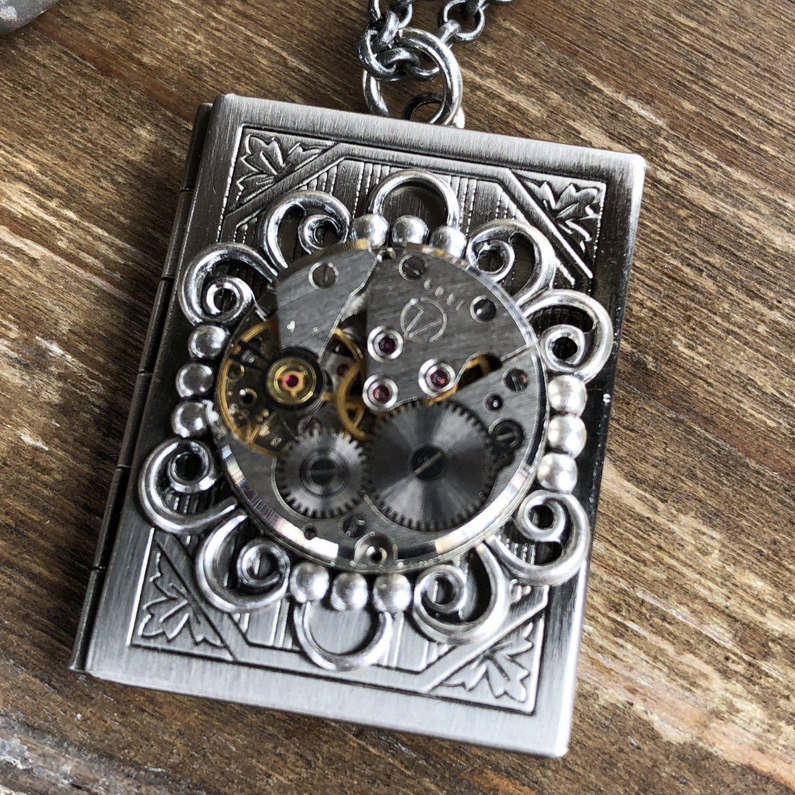 Alicia, Book Locket Silver - The Victorian Magpie