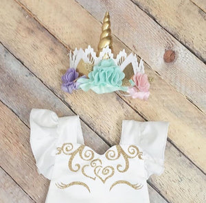 "Pastel ""Unicorn Dreams"" Romper Set"