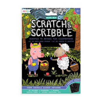 Mini Scratch & Scribble Art Kit (Farm Animals)