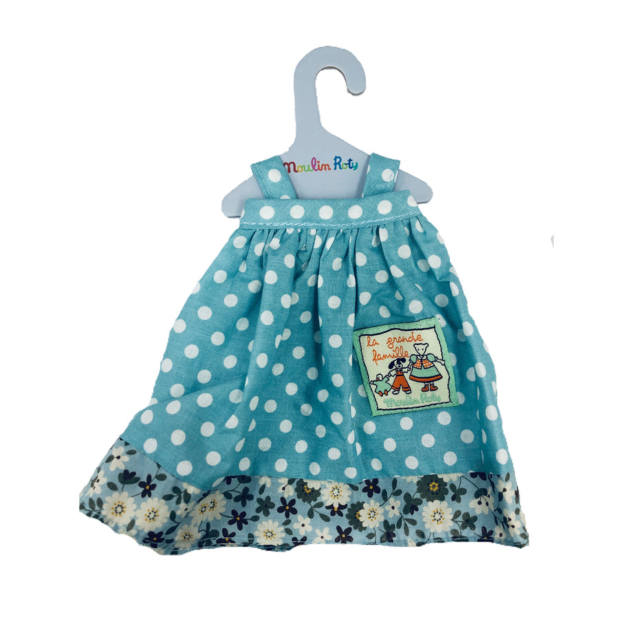 La Grande Famille Jeanne Polka Dot Blue Dress by Moulin Roty