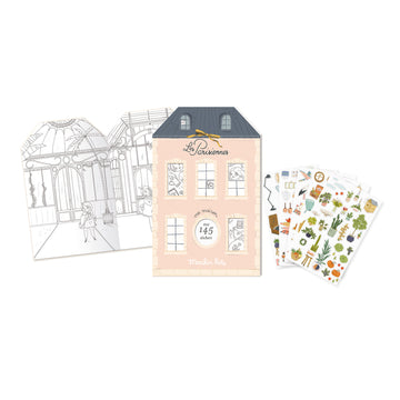 Les Parisiennes Parisian Colouring and 145 Stickers Book 20 Pages by Moulin Roty