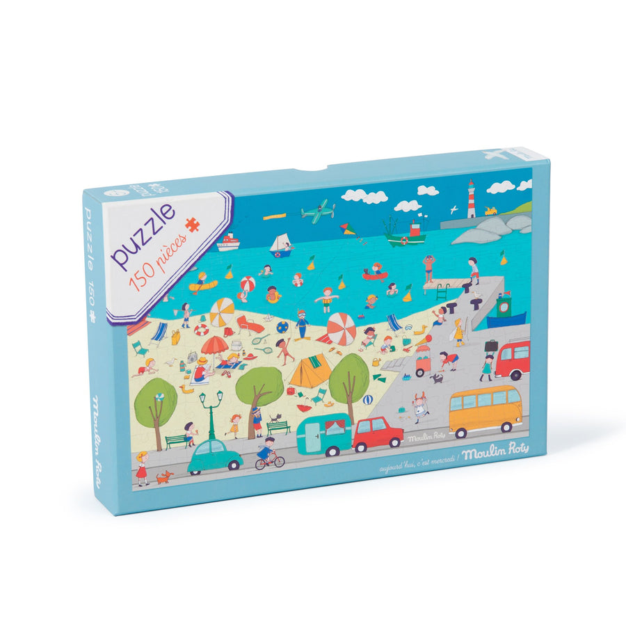 Aujourd'hui C'est Mercredi At the Seaside 150pc Puzzle by Moulin Roty