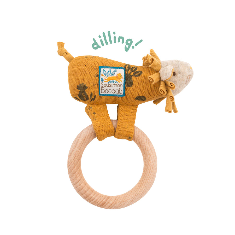 Sous Mon Baobab Paprika Lion Wooden Ring Rattle