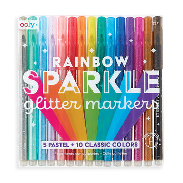 Rainbow Sparkle Glitter Markers (Set of 15)