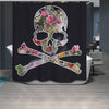 Vogue Skull Flower Shower Curtain