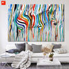 Abstract Colourful Rainbow Zebra Wall Art