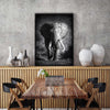 Atmospheric Elephant White & Black Print