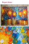 Lover in the Rain - French Street Tree Lamp Landscape Oil Painting On Canvas