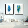Modern Blue Peacock Feathers Canvas Decor