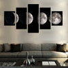 Moon Phases 5 Pieces Canvas Print Set