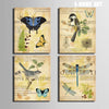 Butterfly and Bird Vintage Style Animal Canvas Art Prints