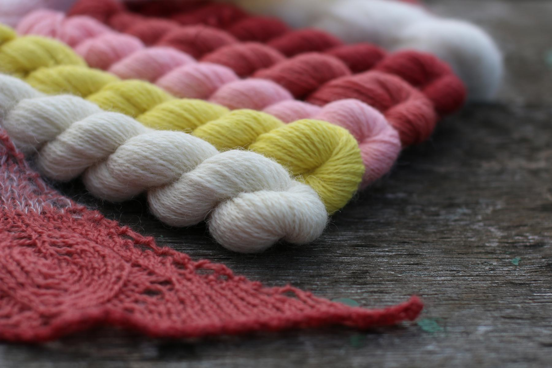 Several skeins of wool in a variety of colours, white, lemon, pink, and red