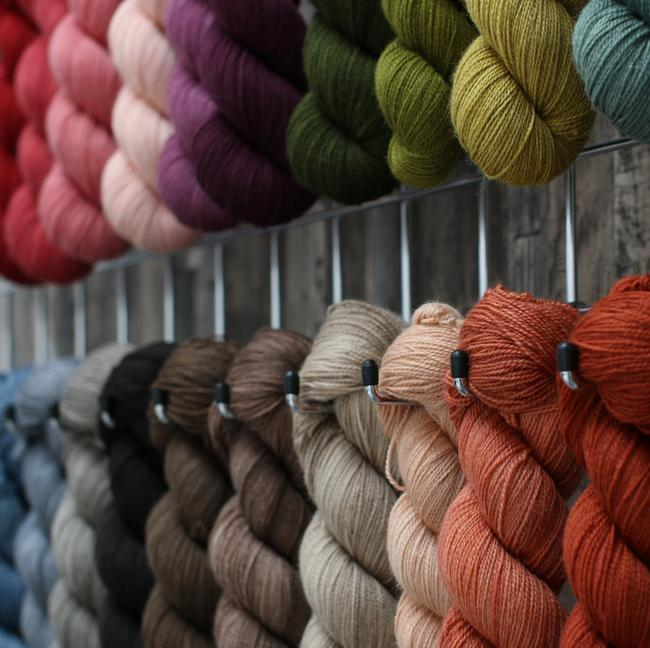 A group of skeins of wool hanging from hooks on a wall, each skein a different shade