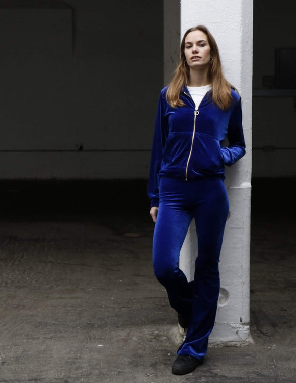 Electric blue velvet flares womens trousers