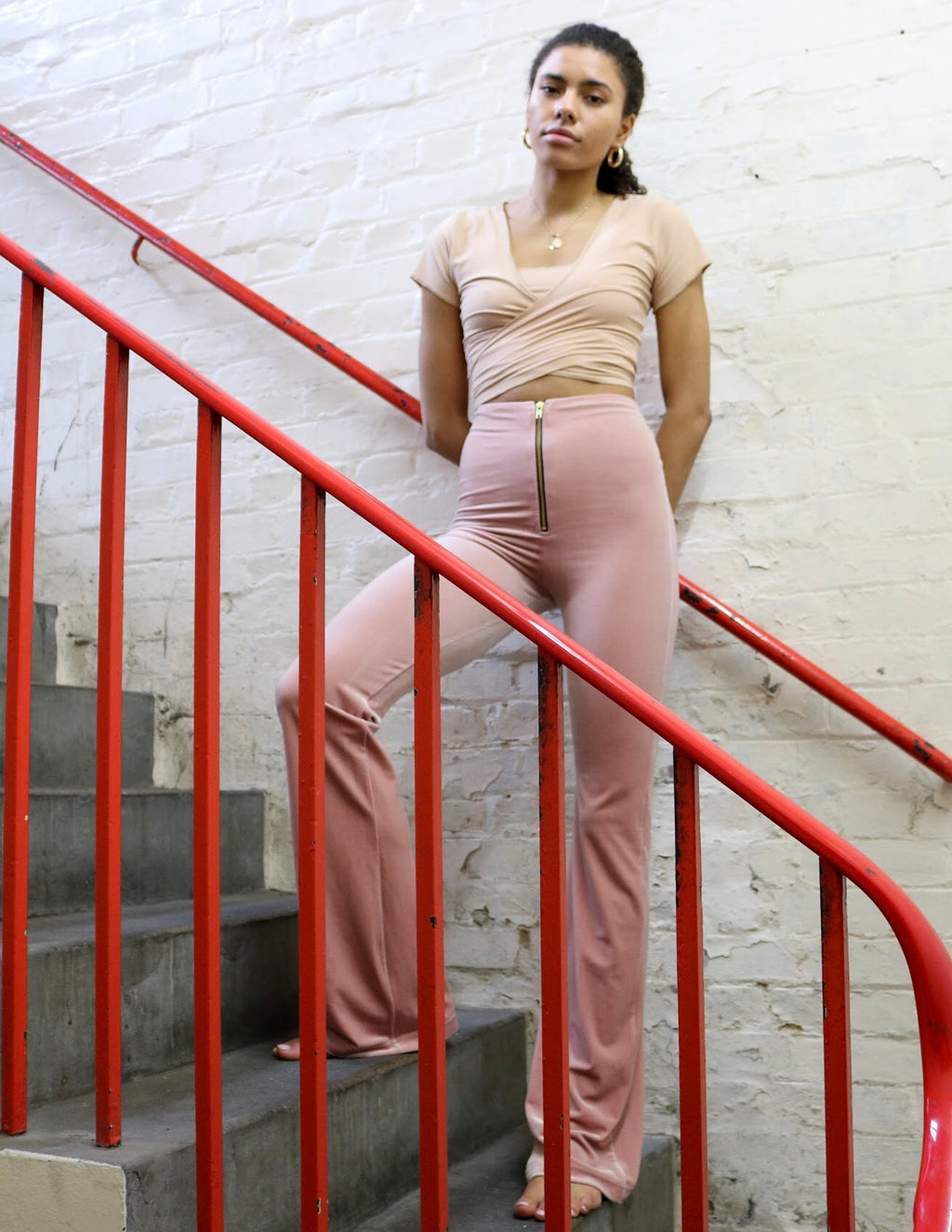 Rose pink zip flares - SAMPLE - 8,34""