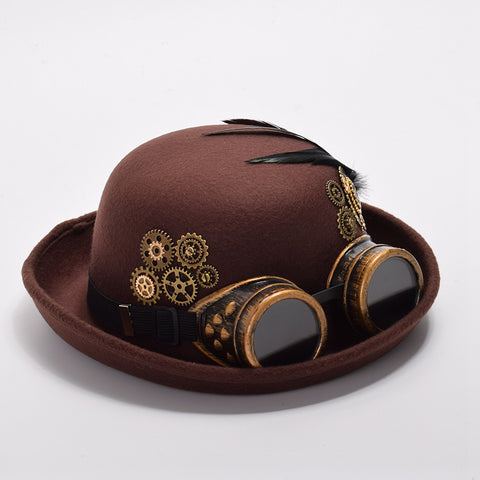 Unisex Brown Steampunk Feathers and Gears Hat