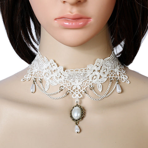 ALICE White Lace Steampunk Choker With Faux Teardrop Pearl-Necklaces-omniqueen-festival-jewelry