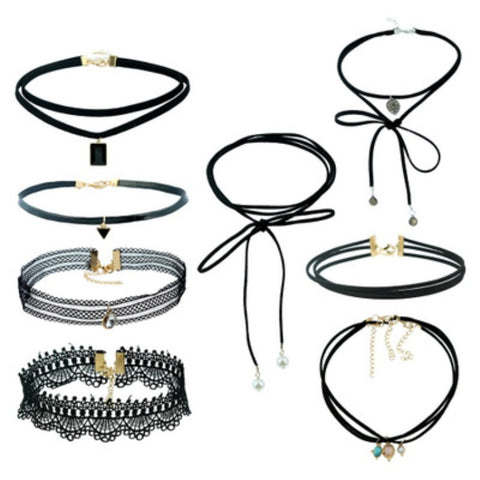 ARYA Black Velvet Choker Set - 8 Pieces-Necklaces-omniqueen-festival-jewelry