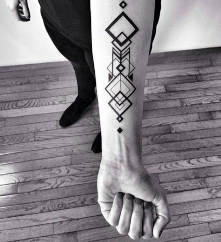 Geometric Totem Tattoo