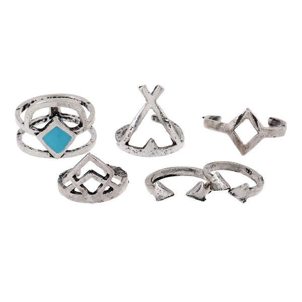 CHLOE Geometric Midi Ring Set - 6 Pieces-Rings-omniqueen-festival-jewelry