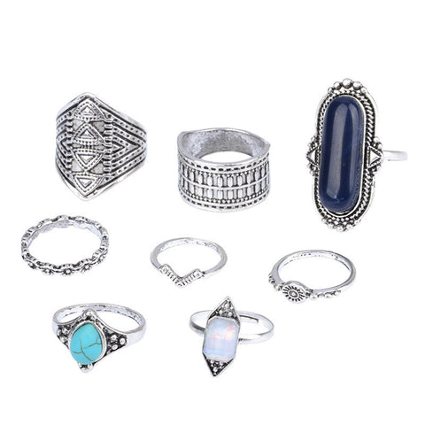 FIRA Midi Ring Set - 8 Pieces-Rings-omniqueen-festival-jewelry