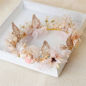 Gold Leaf Floral Mermaid Crown-Hair Accessories-omniqueen-festival-jewelry